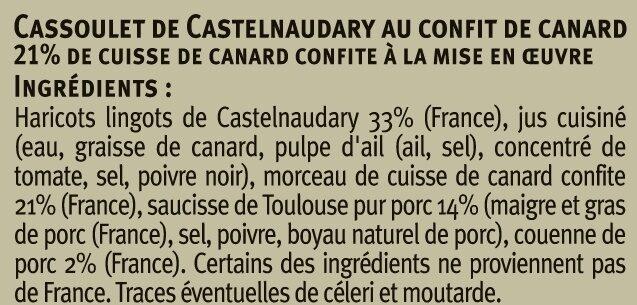 Cassoulet au confit de canard Saveurs - Ingredients - fr