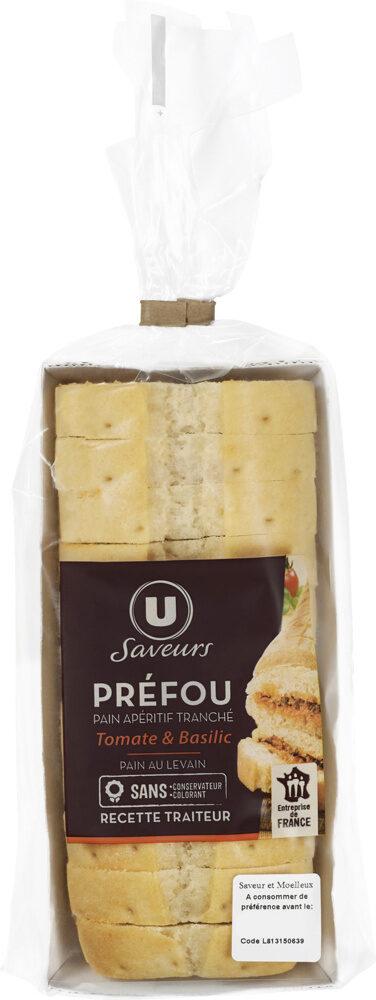 Mini préfou pain apéritif tranché tomate et basilic - Produit - fr