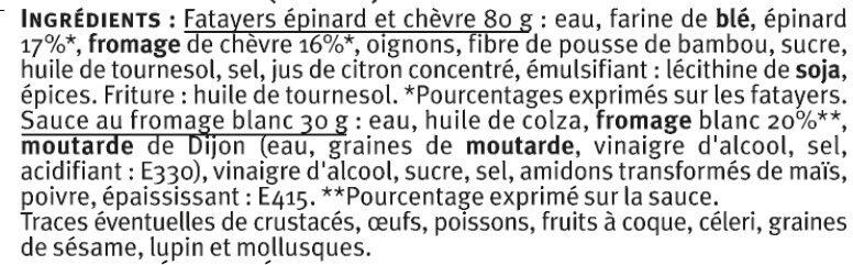 Fatayers chèvre épinard - Ingrediënten