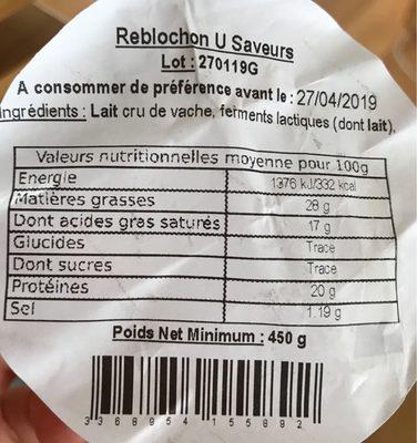 Reblochon Fruitier De Savoie Au Lait Cru De Vache - Ingredients - fr