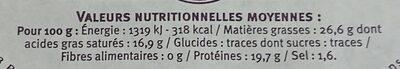 Reblochon Fruitier De Savoie Au Lait Cru De Vache - Nutrition facts - fr