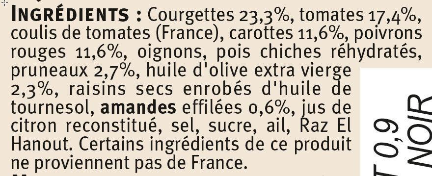 Tajine de légumes aux amandes et pruneaux - Ingrédients