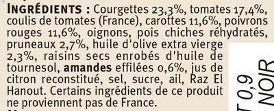 Tajine de légumes aux amandes et pruneaux - Ingrédients - fr