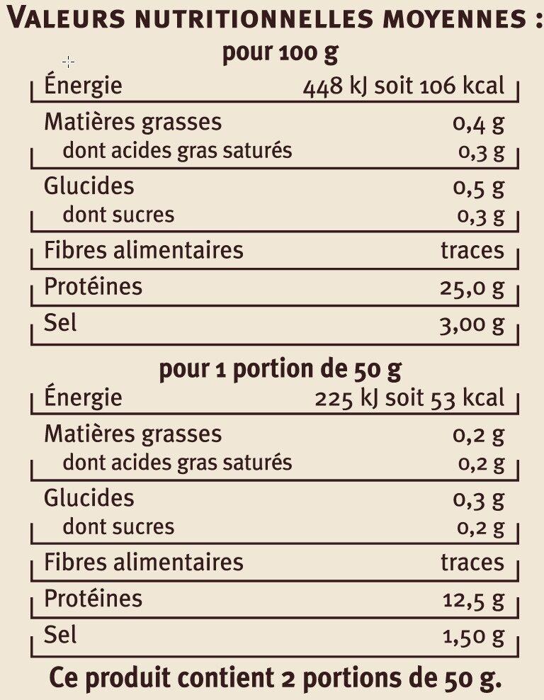 Emincés de thon Albacore fumés - Voedingswaarden - fr