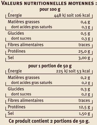 Emincés de thon Albacore fumés Saveurs - Voedingswaarden - fr