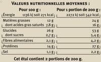 Pizza 4 formaggi saveurs - Informations nutritionnelles - fr