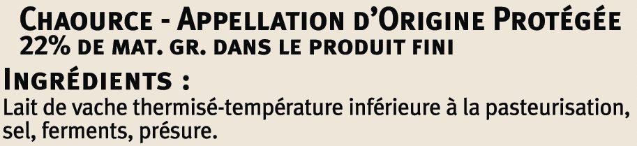 Chaource AOP au lait thermisé 22% de MG - Ingredients