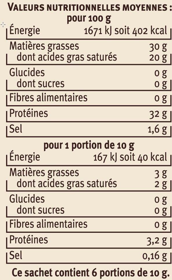 Parmigiano Reggiano AOP râpé au lait cru 30% de mg - Informations nutritionnelles