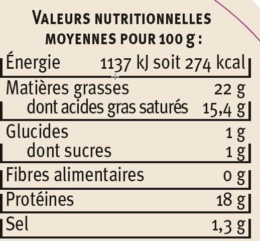 Fromage de chèvre au lait cru AOP Sainte-Maure 22% de matière grasse Saveurs - Nutrition facts - fr