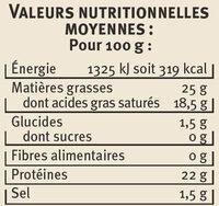 Chabichou du Poitou AOP au lait de chèvre pasteurisé 25 %MG - Informations nutritionnelles