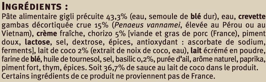 Poêlée terre et mer aux crevettes gambas chorizo Saveurs - Ingrédients - fr
