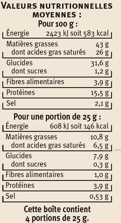 Petits épis pavot sésames - Informations nutritionnelles - fr