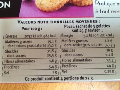 Galettes fruit de la passion - Voedingswaarden