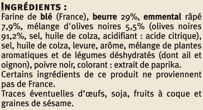 Biscuits apéritifs palmiers saveur olives - Ingredients