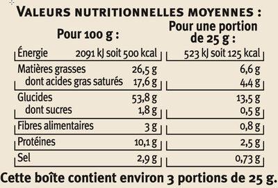 Biscuits apéritifs palmiers saveur olives - Nutrition facts