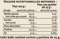 Palmiers salés fromage - Informations nutritionnelles - fr