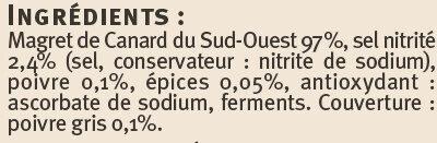 Magret de canard IGP du Sud Ouest séché au poivre - Ingrédients