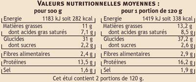 Ravioles du Dauphiné Label Rouge Saveur - Informations nutritionnelles - fr