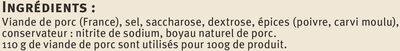 Saucisse de Montbéliard cuite saveurs - Ingredients - fr