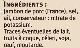 Jambon IGP d'Auvergne - Ingrediënten - fr