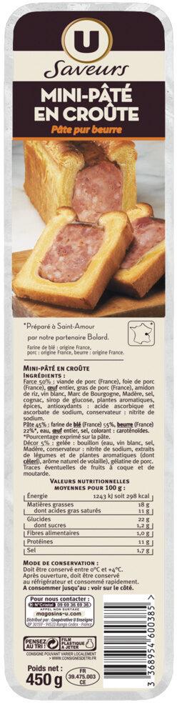 Mini paté en croûte pâte pur beurre Saveurs - Produit - fr