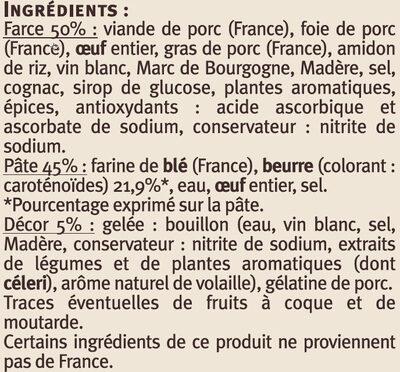 Mini paté en croûte pâte pur beurre Saveurs - Ingrédients - fr