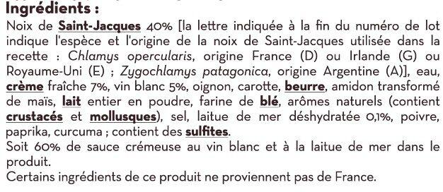 Cassolette de Saint Jacques - Ingrédients