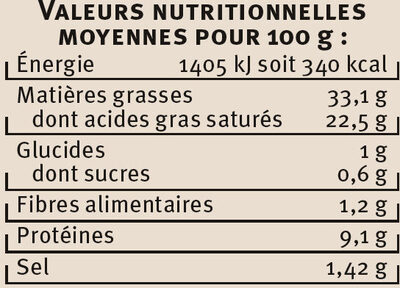 Escargots de Bourgogne Label Rouge - Informations nutritionnelles