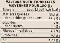 Escargots de Bourgogne Label Rouge - Nutrition facts