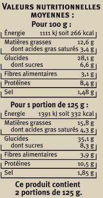 Grandi tondi tomates aubergines mozzarella - Informations nutritionnelles - fr