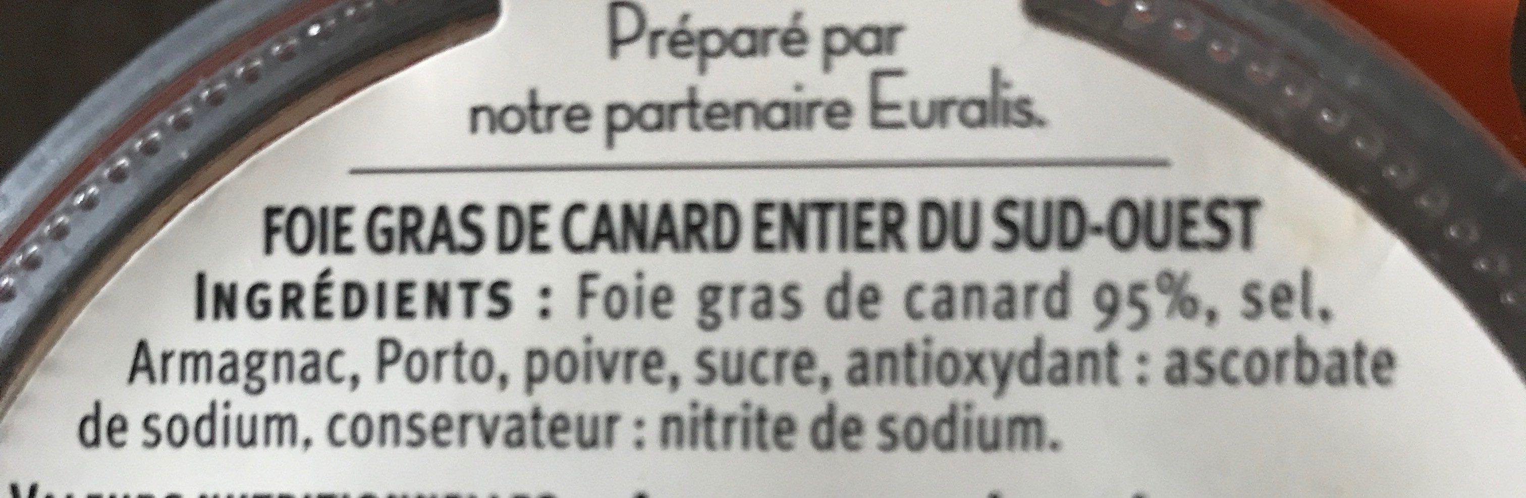 Foie Gras De Canard Entier Igp Du Sud Ouest U Saveurs, Bocal De - Ingredients