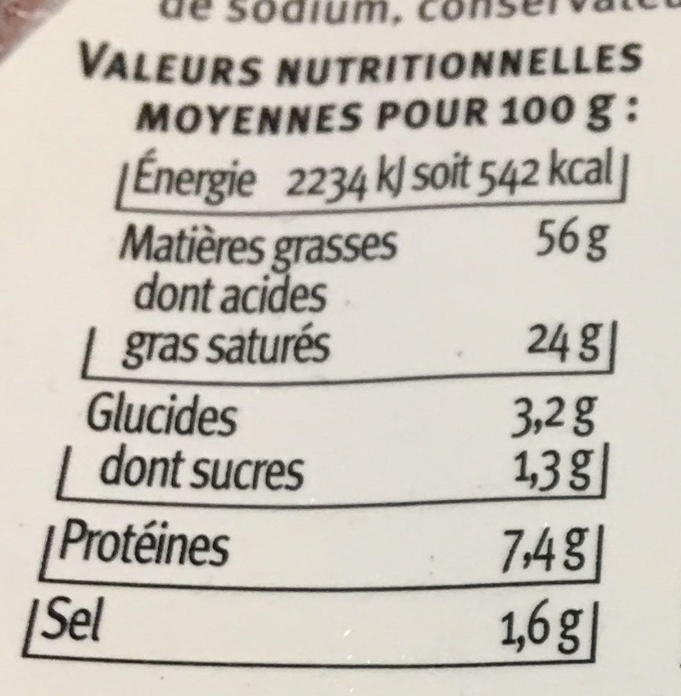 Foie Gras De Canard Entier Igp Du Sud Ouest U Saveurs, Bocal De - Nutrition facts