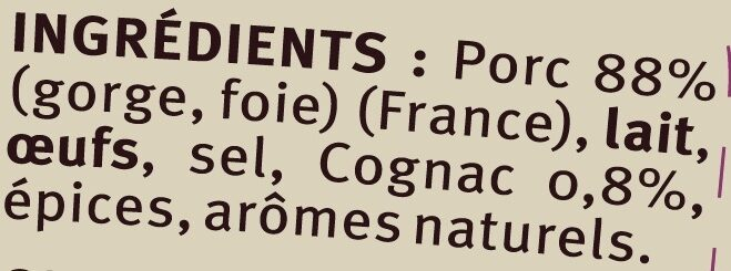 Terrine de porc au cognac - Ingredients - fr