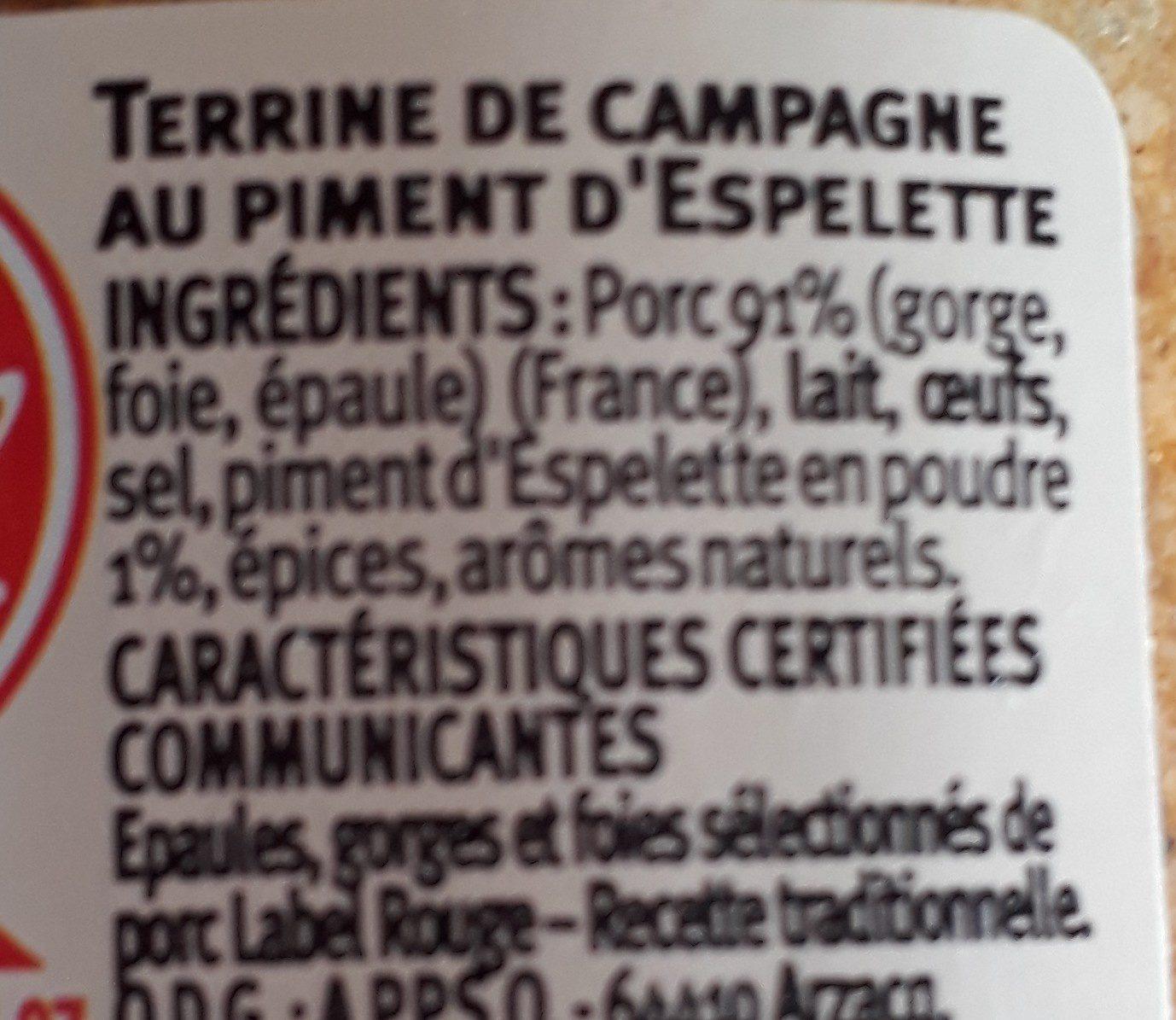 Terrine de campagne au piment d'Espelette - Ingrediënten - fr