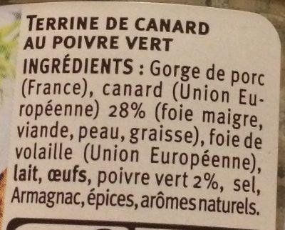 Terrine de canard - Ingredients