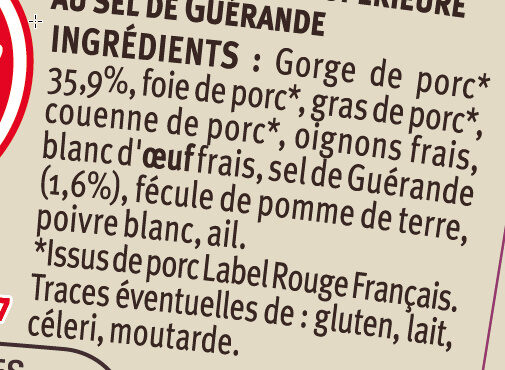 Pâté de campagne breton au sel de Guérande IGP LR - Ingrediënten - fr
