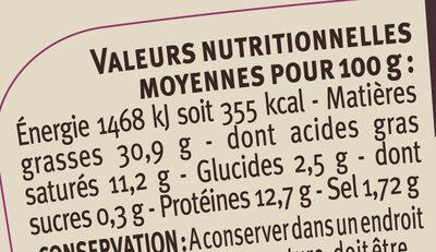 Pâté de campagne breton au sel de Guérande IGP LR - Voedingswaarden - fr