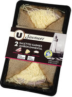 Galettes de blé noir, garnies de jambon supérieur et d'emmental - Produit - fr