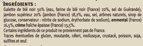 Galettes de blé noir, garnies de jambon supérieur et d'emmental Saveurs - Ingredients - fr