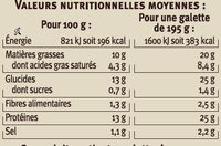 Galette garnie complète - Nutrition facts - fr