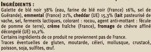 Galette garnie 3 fromages - Ingredients - fr