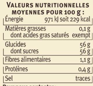 Confiture extra pêches de vigne Vallée du Rhone - Nutrition facts