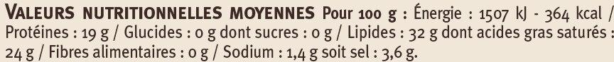 Roquefort AOP au lait cru 32% de MG - Informations nutritionnelles - fr