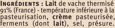 Saint Félicien au lait thermisé 27% de MG - Ingredients