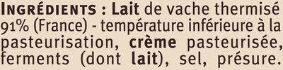 Saint Félicien au lait thermisé 27%MG - Ingredients - fr