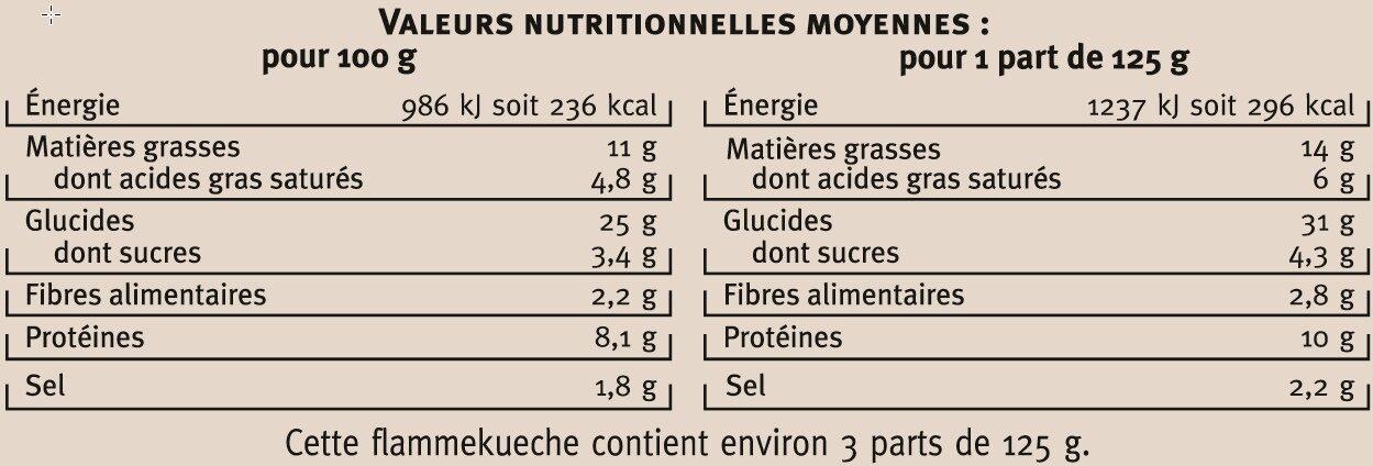 Flammekueche recette alsacienne saveurs - Informations nutritionnelles - fr