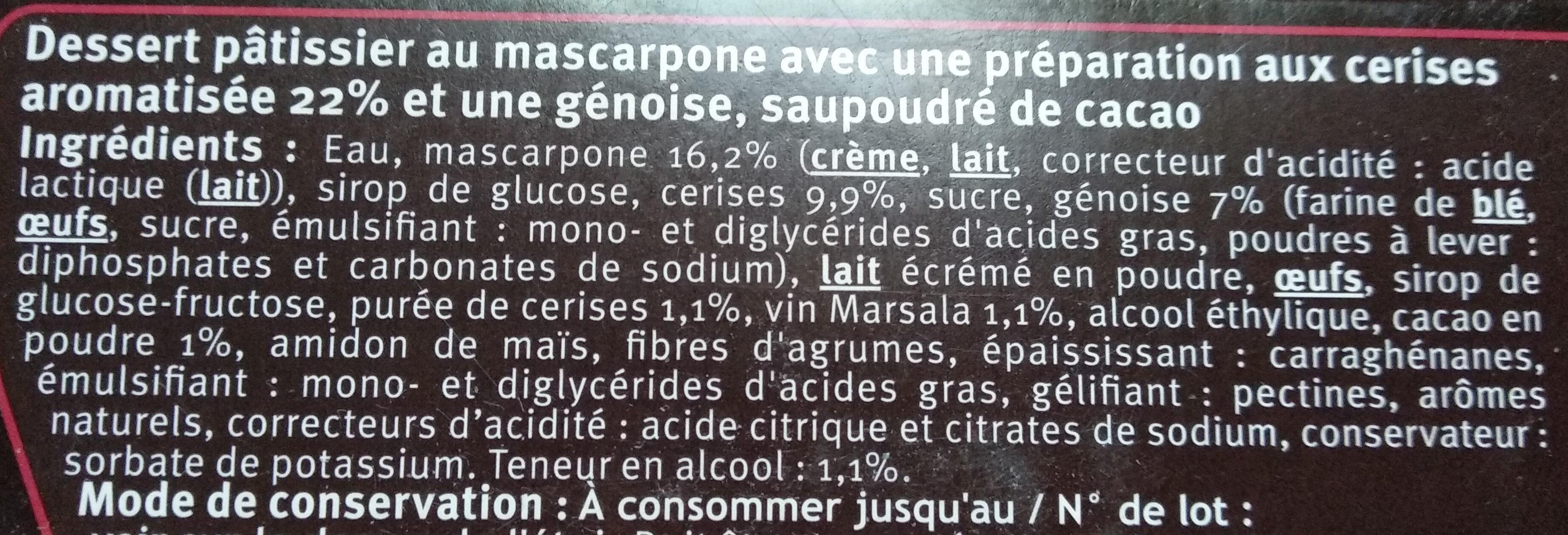 Dessert pâtissier au mascarpone avec préparation aux cerises aromatisée 22% et génoise saupoudré de cacao - Ingredients - fr