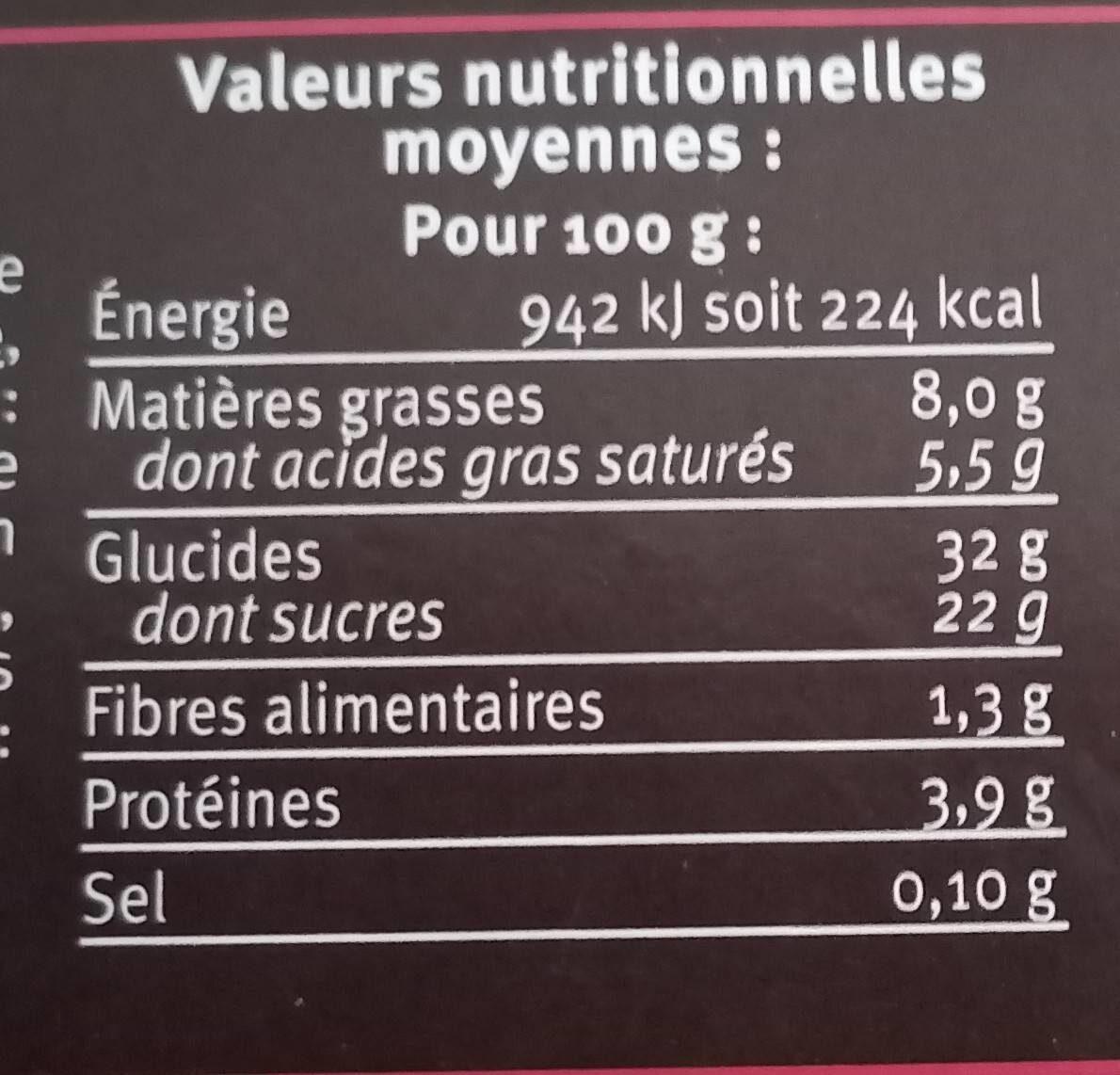 Dessert pâtissier au mascarpone avec préparation aux cerises aromatisée 22% et génoise saupoudré de cacao - Nutrition facts - fr