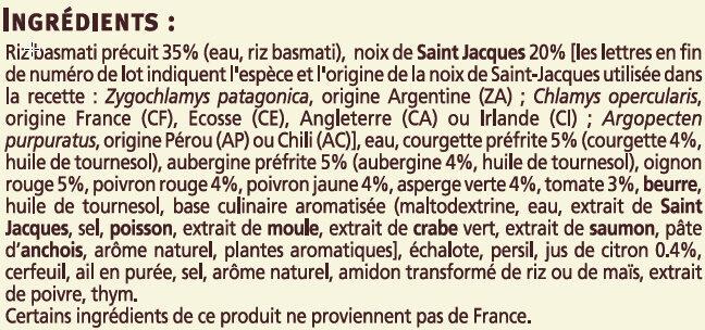 Poêlée de St Jacques au riz basmati Saveurs - Ingredients - fr