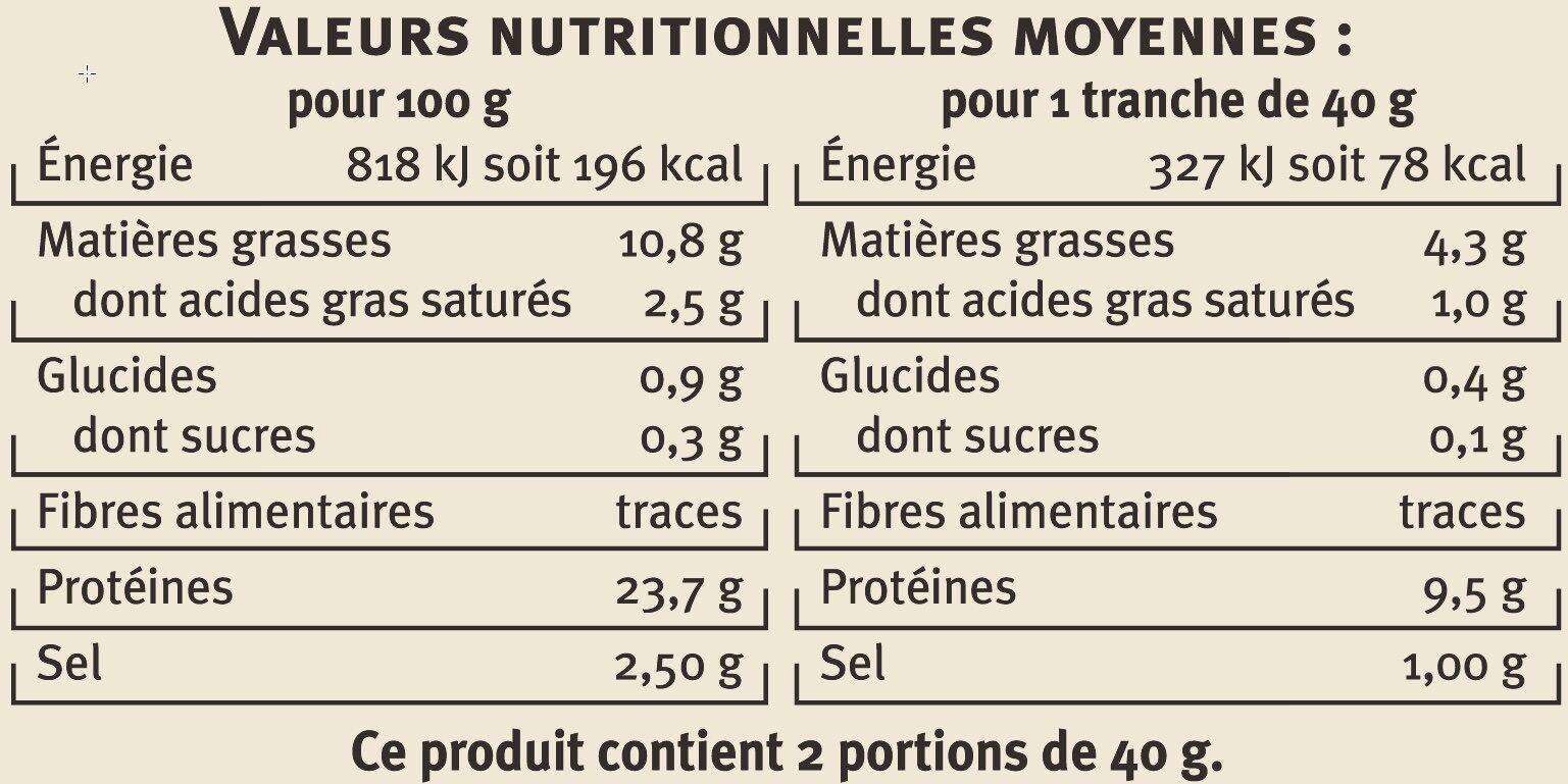 Saumon fumé d'Ecosse Label Rouge - Informations nutritionnelles - fr